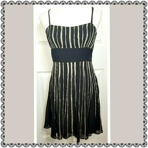 {Guess} black & gold fit n flare dress, sz 9, NWOT